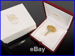 AUTHENTIC MASRIERA K18 GOLD 750 6mm PEARL & DIAMOND PIN BROOCH PENDANT + CASE