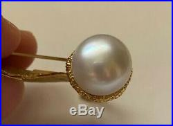 Aaron Henry 18K Gold South Sea Pearl Diamond Acorn Oak Leaf Brooch Pin $7,000+