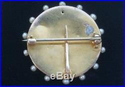 Alling & Co Art Nouveau 14k Gold Enamel Lady Diamond Pearl Watch Pin Brooch