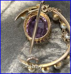 Amethyst & Pearl Brooch, 15ct Yellow Gold Antique Edwardian Crescent Pin