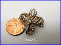 Antique 10K Gold Fleur De Lis Seed Pearl Diamond Brooch Pin Ornate French Vtg