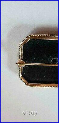 Antique 10K Gold Onyx & Seed Pearl Mourning Brooch Pin Late Victorian Clover