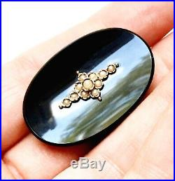 Antique 10K Gold Onyx & Seed Pearl Mourning Brooch Pin Pendant, Late Victorian