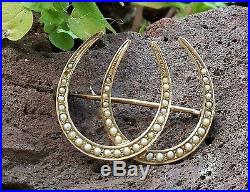 Antique 10K Yellow Gold Seed Pearl Horseshoe Brooch Pin Estate Jewelry 2.3 gm