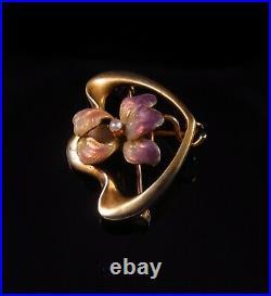 Antique 10k Gold Art Nouveau Enamel & Pearl Iris Flower Brooch Pin