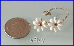 Antique 10k Gold River Pearl Diamond Citrine Daisy Brooch Pin-Estate Jewelry