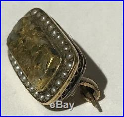 Antique 10k Gold Victorian Gold Quartz Seed Pearls Miniature Brooch Pin