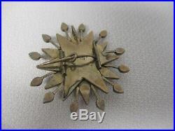 Antique 10k Yellow Gold Genuine Garnets Starburst Brooch Pin