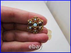 Antique 10k Yellow Gold Opal Cluster Pin Victorian Nouveau Brooch