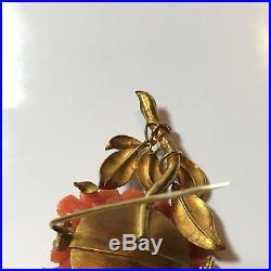 Antique 12k Gold Coral Diamond Flower Brooch Pin