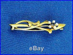 Antique 14K Art Nouveau Krementz Yellow Gold Brooch Pin with Sapphire & Pearls