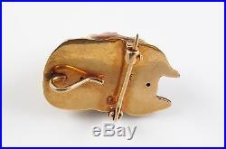 Antique 14K Gold Art Nouveau Enamel Diamond Eyed Boxer Dog Brooch Watch Pin