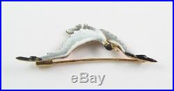 Antique 14K Gold Art Nouveau Enamel Seagull Bird Brooch Pin With Fitted Box