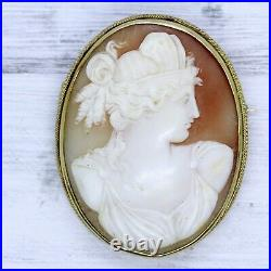 Antique 14K Gold Carved Shell Cameo Brooch Pin Neo Classical Goddess Luxury