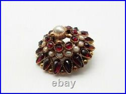 Antique 14K Gold Filled Bohemian Garnet Cultured Pearl Brooch Pin Ornate Cluster