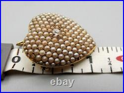 Antique 14K Gold Gold Seed Pearl Diamond Pendant Brooch Pin Vtg. 10 Carat