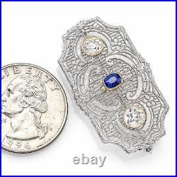 Antique 14K Gold & Platinum Sapphire & 0.98 TCW Diamond Art Deco Brooch Pin 4.3G