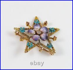 Antique 14K Gold Victorian Enamel & Diamond Violet Flower Star Brooch Pin