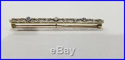 Antique 14K Gold with Platinum Top Diamond and Sapphire Filigree Bar Pin Brooch