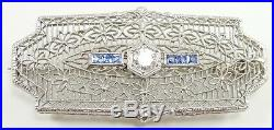 Antique 14K White Gold Filigree Pendant Brooch Pin Clear Blue Spinel 13/16