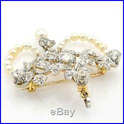 Antique 14K Yellow Gold 4.84 TCW Euro Cut Diamond Pearl Brooch Pin Pendant 16.3G