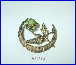Antique 14K Yellow Gold Crescent Moon Seed Pearl Flower Pin Brooch Peridot 4.4Gr
