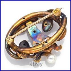 Antique 14K Yellow Gold Diamond & Pearl Angel Snake Brooch Pin 24.5 x 19.6 mm