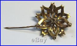 Antique 14K Yellow Gold Diamond & Seed Pearl Starburst Pin Brooch Pendant