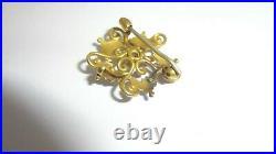 Antique 14K Yellow Gold Enamel Seed Pearls Diamond Brooch Watch Pin