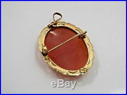 Antique 14K Yellow Gold Frame Cameo Helmut Shell Brooch Pin Pendant