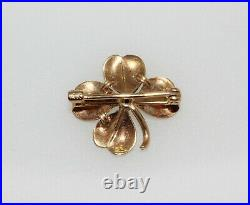 Antique 14K Yellow Gold Krementz Enamel Four Leaf Clover Pearl Brooch Pin