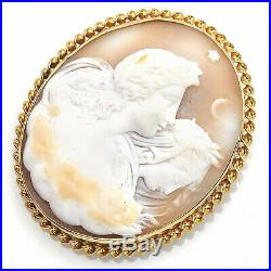 Antique 14K Yellow Gold Large Oval Cameo Brooch Pin Pendant 15.7 Grams