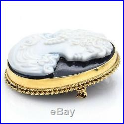 Antique 14K Yellow Gold Onyx Oval Cameo Brooch Pin Pendant 17.8 Grams