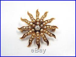 Antique 14K Yellow Gold Seed Pearl Diamond Flower Sunburst Brooch Pin, 3.0 grams