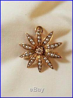 Antique 14K Yellow Gold Seed Pearl & Diamond Starburst Brooch Pin Pendant