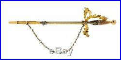 Antique 14K Yellow Gold Seed Pearls and Enamel Brooch Pin
