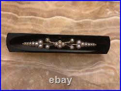 Antique 14K Yellow Gold Victorian Mourning Pin or Brooch With Onyx & Seed Pearls