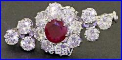 Antique 14K white gold amazing elegant 3.95CTW diamond & 6mm ruby pin/brooch