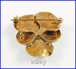 Antique 14k Gold Art Nouveau Blue Enamel & Pearl Pansy Flower Brooch Pin