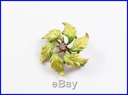 Antique 14k Gold Art Nouveau Enamel & Diamond Floral Brooch Pin