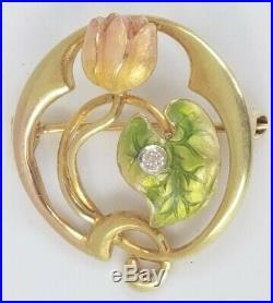 Antique 14k Gold Art Nouveau Enamel & Diamond Flower Brooch Pin-Estate Jewelry