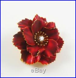Antique 14k Gold Art Nouveau Enamel & Diamond Flower Pansy Brooch Pin Pendant