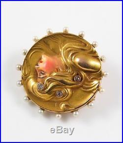 Antique 14k Gold Art Nouveau Enamel Pearl & Diamond Lady Woman Watch Pin Brooch