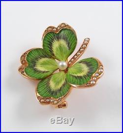 Antique 14k Gold Art Nouveau Enamel Pearl Four Leaf Clover Brooch Pin Pendant