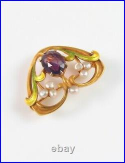 Antique 14k Gold Art Nouveau Krementz Enamel Amethyst Pearl Brooch Watch Pin
