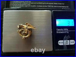 Antique 14k Gold Griffin Serpent Dragon Pearl Brooch Watch Pin Estate Jewelry
