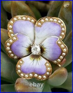 Antique 14k Gold Victorian Purple Enamel & Diamond Pansy Flower Brooch Pin 9.7g