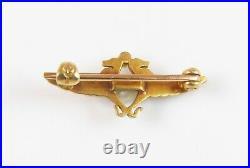 Antique 14k Gold Whiteside & Blank Enamel Egyptian Revival Serpents Brooch Pin