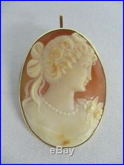 Antique 14k Yellow Gold Carved Cameo Lovely Lady Pendant Brooch Pin 2 1/4