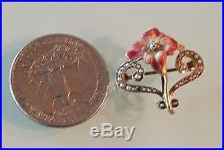 Antique 14k Yellow Gold Diamond Enamel Pearl Brooch Watch Pin Estate Jewelry